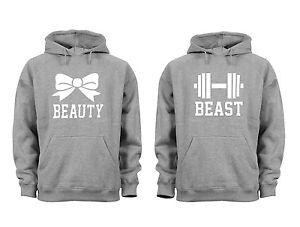 Couples Matching Hoodies Beauty Beast Gym Matching Couple Grey