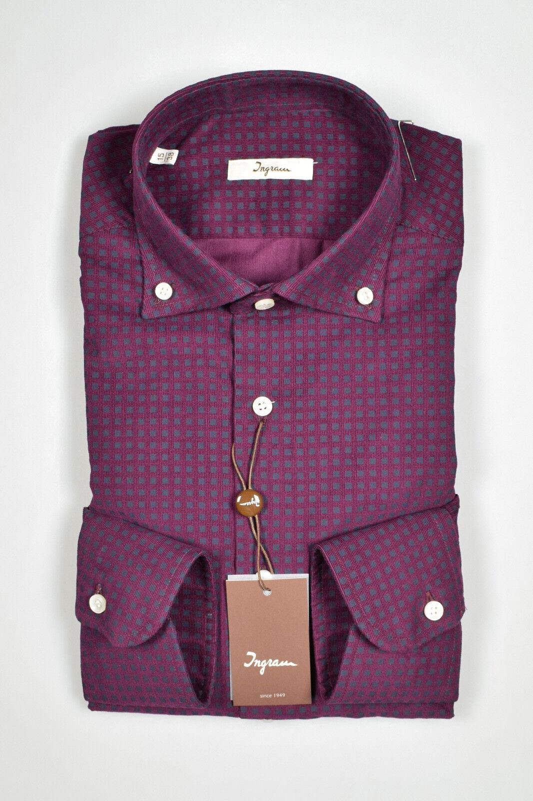 Camicia Bordeaux Down in Velluto stampato Ingram Button Down Bordeaux Regular Fit Inverno18/19 c41078