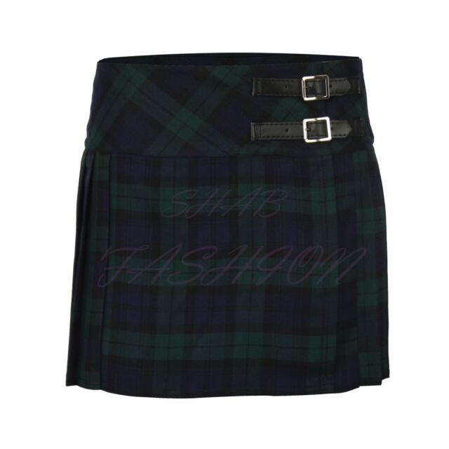 Girls Kids Tartan Pleated Billie Kilt Skirt Leather Buckled Straps 3- 14 Years