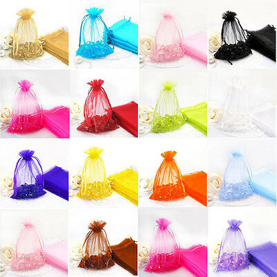 100Pc Jewelry Yarn Gauze Organza Pouch Wedding Party Favor Candy Gift Bag 2Size