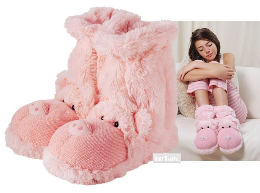 Aroma Home Fun For Feet PIG Slipper Socks Plush Pink Fur Slipper Booties UK 3-7