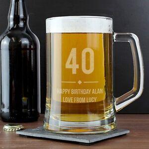 Image Is Loading Birthday Personalised Beer Pint Tankard Engraved Message