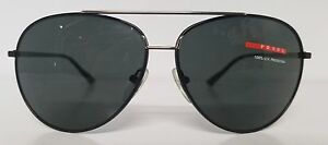b5eb9b519356 Men s Designer PRADA Aviator Black Metal Sunglasses Mod SPS 52L Made ...