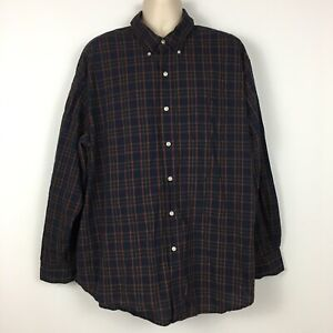 Chaps-Men-039-s-3XB-Big-Tall-Button-Down-Long-Sleeve-Blue-Red-Plaid-Easy-Care-Shirt