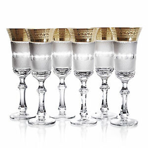 Bohemian-Crystal-amp-Gold-Champagne-Flute-Set