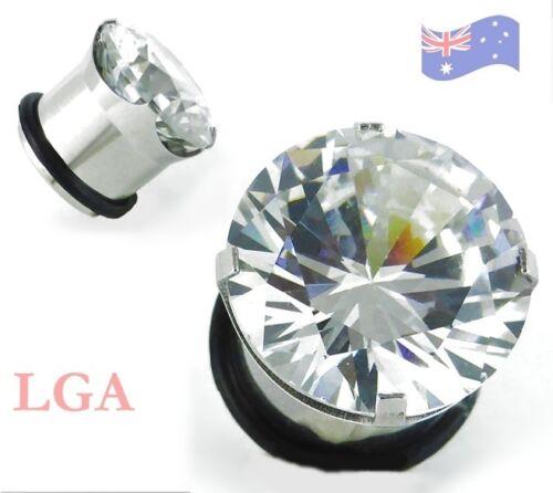 Ear TUNNEL Plug Single Flare HUGE CLEAR SOLITAIRE CZ gem 2.5-16mm Body art *