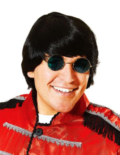 Black 60S Style Wig Elton John Beatles Groovy Party Male Fancy Dress