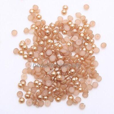 2000pcs Half Round Bead Flat Back Acrylic Pearl Scrapbooking Embellishment Craft