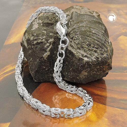 925 Sterlingsilber Armband ca.3mm Königskette vierkant 19cm Königsarmband