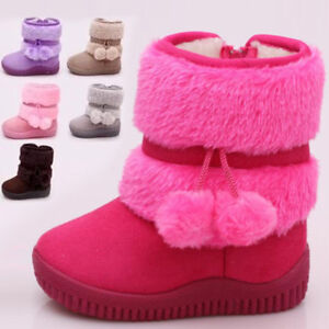 ef33bb01a9 Toddler Girls kids Fashion Ankle boots fur Lined winter warm snow ...