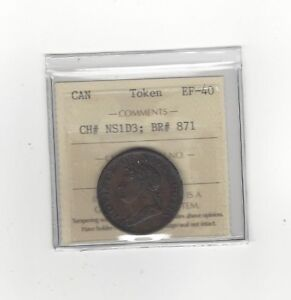 Canada-Token-NS1D3-Breton-869-ICCS-Graded-EF-40-Thistle-Token