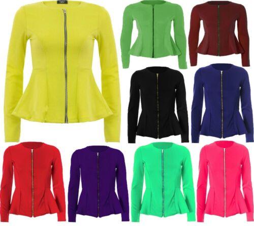 Ladies Womens Frill Front Zip Slim Fit Peplum Blazer Jacket Coat 8-24 Plus Size