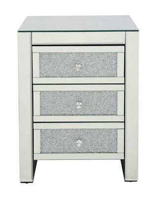 Crushed Diamond Crystal 3 Drawer Mirrored Bedside Table Mirror Furniture Bedroom Ebay