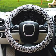 "Soft Leopard Plush Car Steering Wheel Cover Anti-slip 38CM 15"" Grey For Seasons"