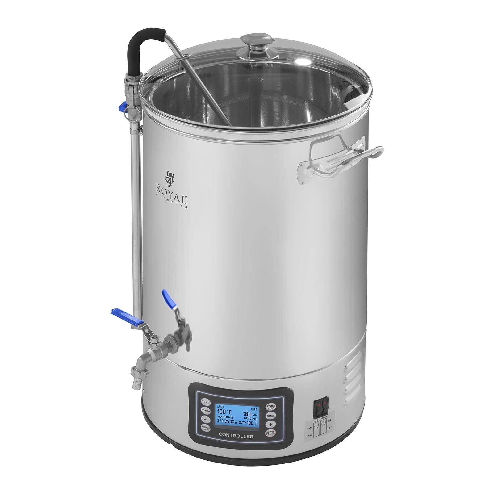 Kit brassage bière Cuve de fermentation Homebrew 40L Ecran Minuterie 2500W inox
