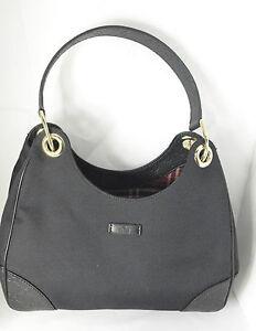 3c0496633 Authentic Gucci Black Canvas Hobo Bag W/Black Guccissima shoulder ...