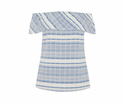 Chambray Frill New Stripe 1950s Top White Style Sz Bardot Oasis Blouse Blue 8 nwTqEax