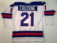 Mike Eruzione 1980 Miracle On Ice USA Hockey White UNSIGNED CUSTOM Jersey Sz XL