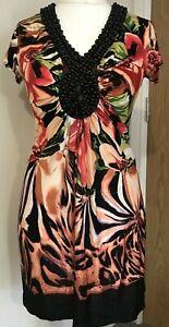 Ladies-Star-by-Julien-Macdonald-size-10-Short-Sleeve-V-Neck-Dress-Beaded-Neck