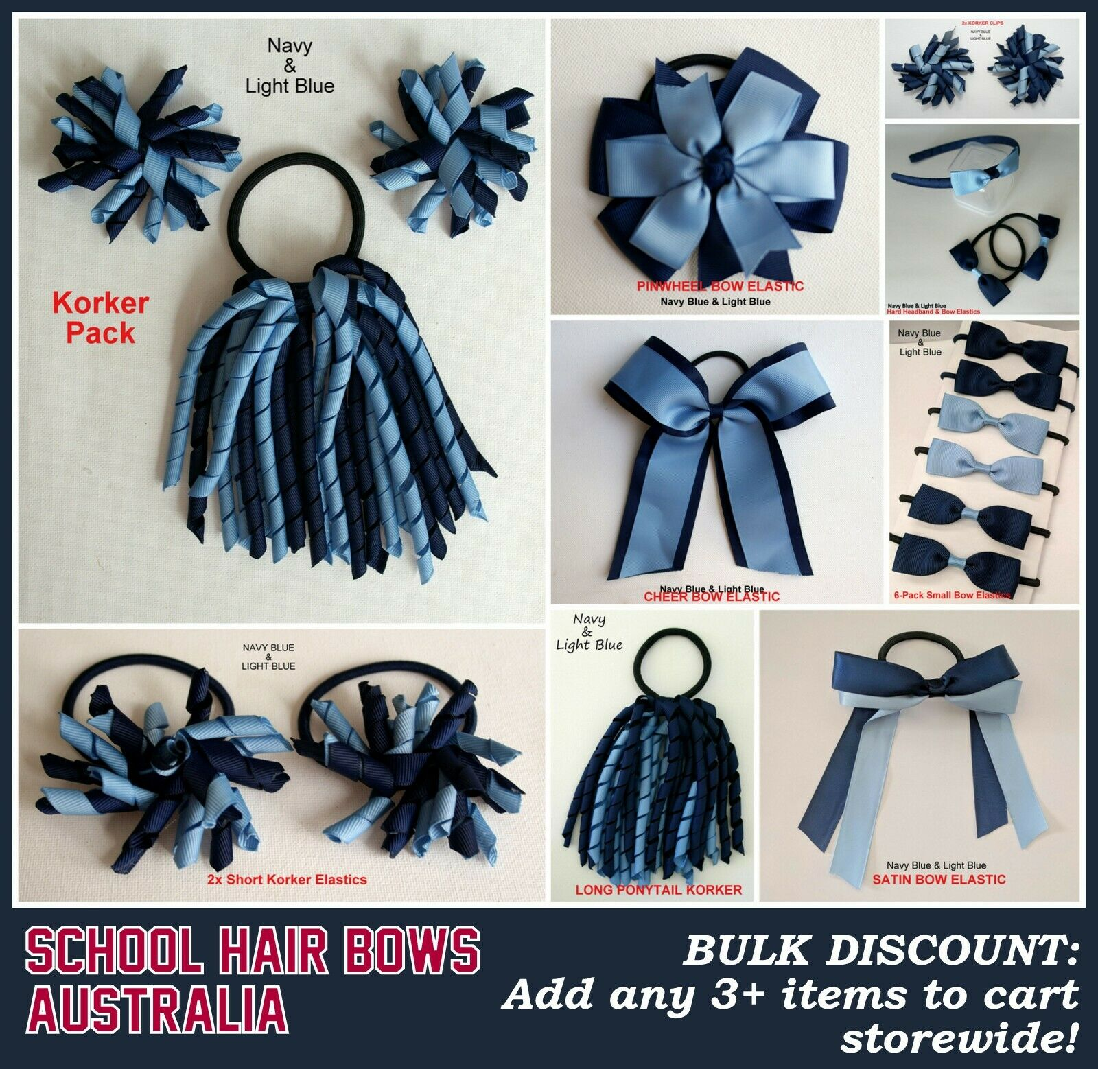 colours party curly korker school Girls Hair Accessory navy blue white