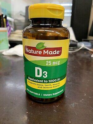 Nature Made Vitamin D3 1000 Iu 25mcg 300 Softgels Immune Health Exp 8 22 31604040703 Ebay