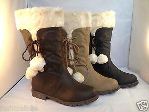 a777a6cf7 Détails sur BOTTES FEMME BOTTINES FOURRÉES FOURRURE fille boots chaud  pompons L10