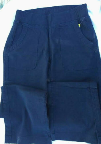 Linen Wahine Blues,Women/'s Size Small Cotton Navy Pull On Pants Spandex