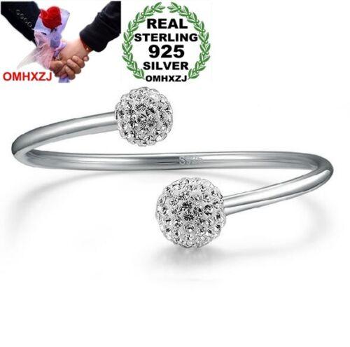 Fashion Sweet Drill Ball Woman Sterling 925 Silver Open Adjustable Bracelet SZ13