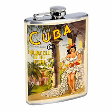 Vintage Poster D204 Flask 8oz Stainless Steel Cuba Holiday Isle of the Tropics