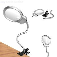 Clamp Swing Arm Led Magnifying Glass Lighted Lamp Hobby Work Desktop Table Lens