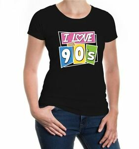 Damen-Kurzarm-Girlie-T-Shirt-I-love-the-90s-Neunziger-Jahre-Party-Geschenk-90er