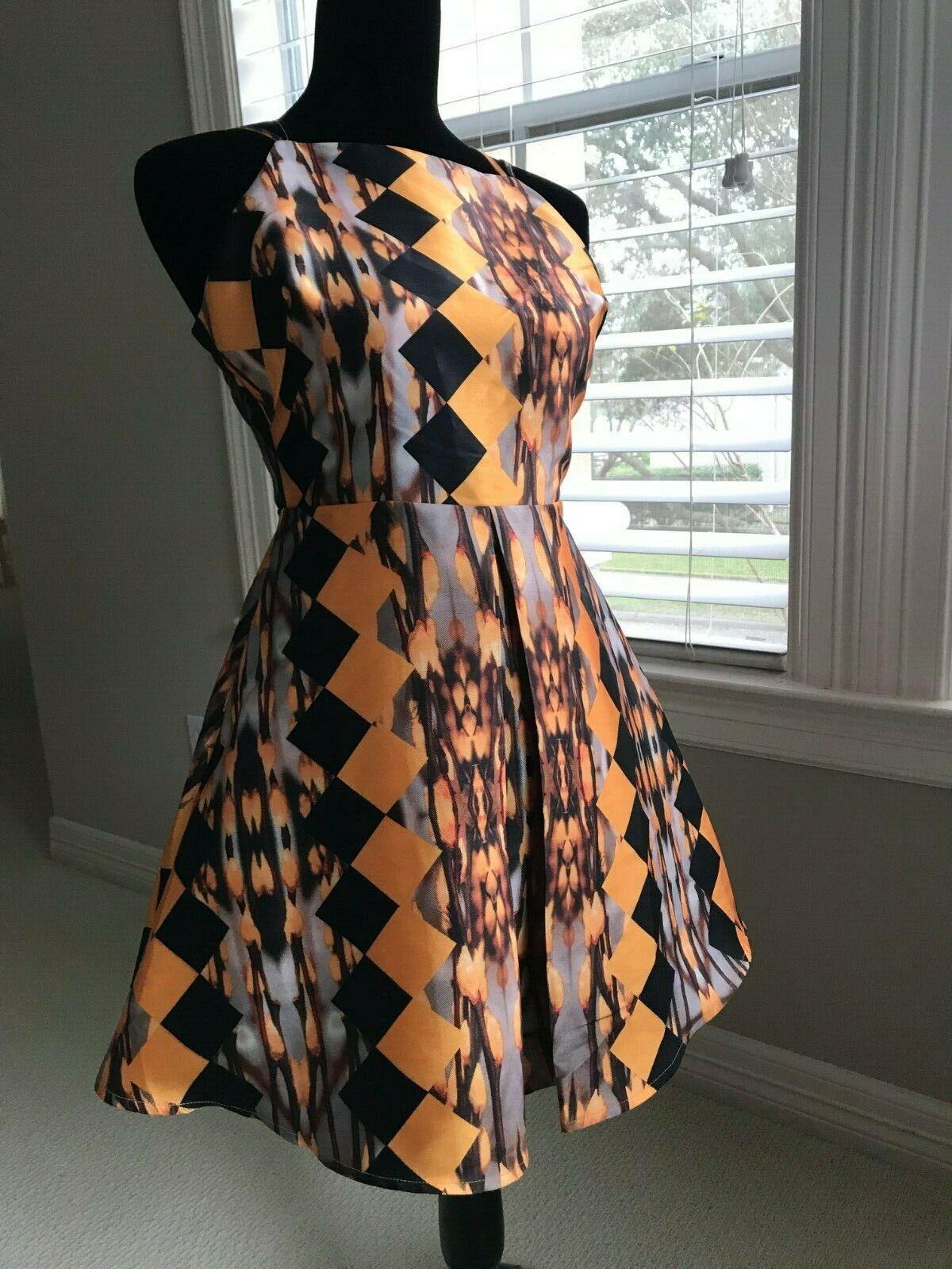 ARK & CO Orange Taffeta Diamond Print Box Pleat Dress Woherren Größe Small