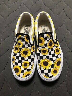 black and white checkered vans with sunflowers