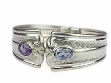 Art Deco Rodi & Wiennenberger 835 Silber floraler Blautopas Amethyst Armreif