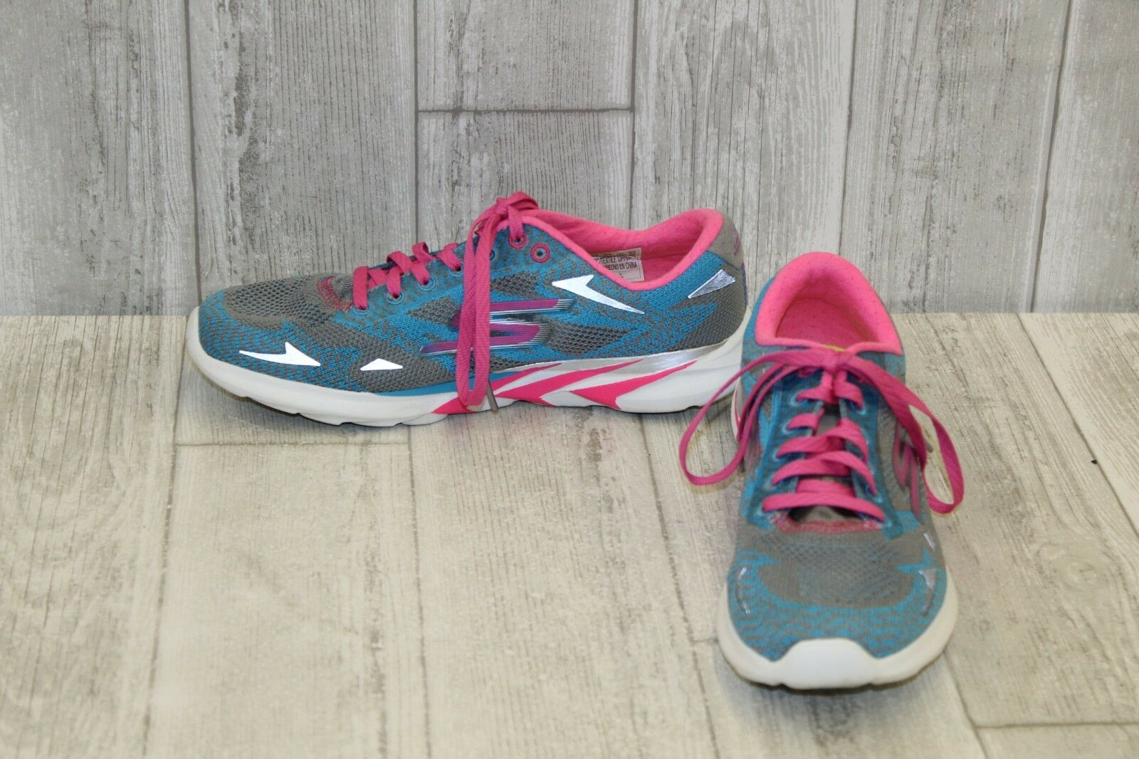 Skechers GOmeb Speed 3 2016 Running shoes, Women's Size 7.5, Charcoal bluee Pink