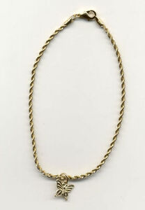 9 1//2 INCH 14KT GOLD  EP 2.5MM ROPE CHAIN ANKLET