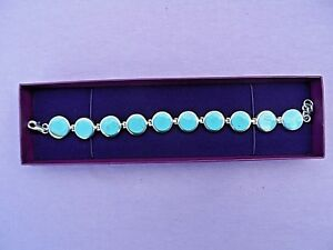 BOXED-925-STERLING-SILVER-7-1-2-034-ARTICULATED-LINK-MULTI-STONE-TURQUOISE-BRACELET