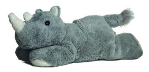 "AURORA MINI FLOPSIE RHINO 8"" Grey Rhino BEANBAG PLUSH NEW 31267"