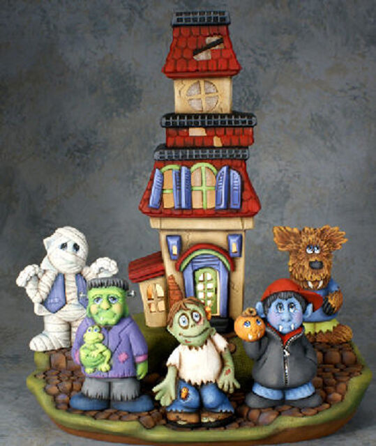Ceramic Bisque Ready to Paint Tall Haunted House with Monsters electric included