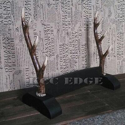 DELUXE WOODEN TABLE FLAT BLACK 3 TIER DISPLAY SAMURAI KATANA SWORD DAGGER STAND