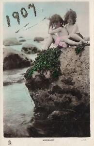 1900-039-s-VINTAGE-TUCKS-REAL-PHOTO-YOUNG-GIRLS-MERMAIDS-POSTCARD-to-Sebastopol