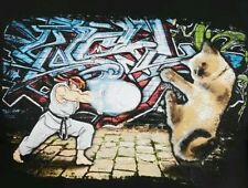 NEW Ryu vs Cat Kitten Funny Street Fighter Video Game Hadouken T Shirt Sz XL