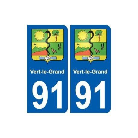 91 Vert-le-Grand blason autocollant plaque stickers ville arrondis