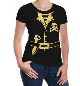 Damen Kurzarm Girlie T-Shirt Pirate-Dress Piraten Kostüm Karneval Fasching