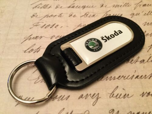 SKODA Real Leather Keyring  Printed resin coated OCTAVIA FABIA SUPERB KODIAQ
