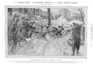 1908-Antique-Print-SWITZERLAND-Luges-Tailing-Party-Horse-Sleigh-Snow-178