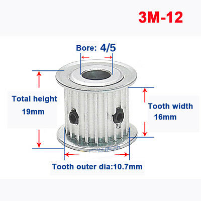 3M12T Timing Belt Pulley Synchronous Wheel 5//6//6.35mm Bore For 15mm Width Belt