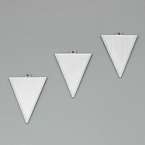5Pcs Silver Plated 49*34.5mm Geometric Triangle Charms Pendant Jewelry Findings