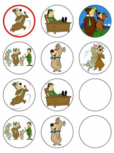 """15 x 2/"""" YOGI BEAR PRE CUT ICING Cup Cake Toppers Decorations"""
