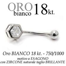 Piercing ombelico belly ORO BIANCO 18kt. a ESAGONO BRILLANTE white gold 18kt.
